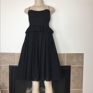 J. Crew Black Wool Blend Dress with Peplum Size: 4
